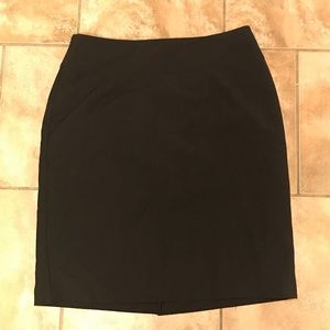 Black pencil skirt with split detail in back